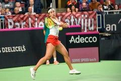 Anastasija Sevastova, under den första runda leken för världsgrupp II mellan laget Lettland och laget Slovakien arkivbild
