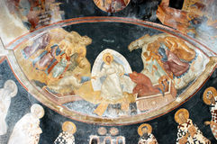 The Anastasis, Descent into Hell. The Anastasis (Descent into Hell), Jesus pull Adam and Eve by their hands, fresco from Chora church in Istanbul, Turkey Royalty Free Stock Photography