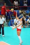 Anastasiya gurbanova. In action with the national team in the world cup match italy vs azerbaijan played at bari in italy.1/10/2014 royalty free stock photos