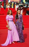 Anastasiya Makeeva at Moscow Film Festival. Actress and singer Anastasiya Makeeva (in lilac dress, at right) at XXXV Moscow International Film Festival red royalty free stock images