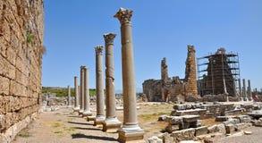Anatolian city Perge (Perga) in Turkey. Ruins of the ancient anatolian city Perge in Turkey Stock Photo