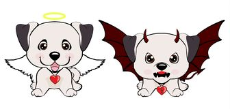 Devil Dog with horns and bat wings and happy dog angel. Anatolian Shepherd Dog. Devil Dog with horns and bat wings and happy dog angel royalty free illustration