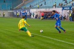 Anatoly Katrich (77) no jogo de futebol Fotografia de Stock Royalty Free