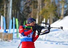 Anatoly Oskin konkurriert in regionaler Schale IBU Lizenzfreie Stockbilder