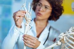 Anatomía de enseñanza de la mujer usando modelo esquelético humano Fotografía de archivo