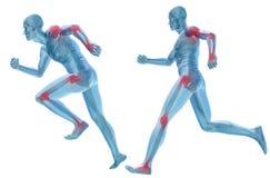 anatomía humana del dolor del hombre 3D aislada