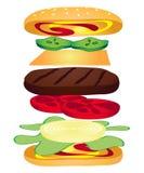 Anatomia di un cheeseburger Fotografia Stock