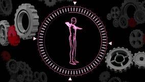 Anatomia humana em um círculo com engrenagens ilustração stock