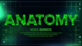 Anatomia sztandaru wektor mapy tła oko medical optometrist Przejrzystego Roentgen radiologiczny tekst Z kościami Radiologii 3D ob Ilustracja Wektor
