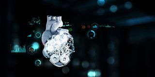 Anatomic heart made with steel gears and mechanic parts. Anatomic heart model made with gears and mechanic parts, digital board background stock illustration