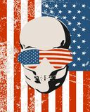 Anatomic illustration of skull. Anatomic skull in sunglasses textured by flag of USA. Detailed illustration of human skull. Grunge distressed backdrop stock illustration