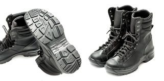 Anatomical combat boots. On white background Stock Photo