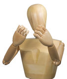 Anatomical manikin. Half body portrait of anatomical manikin with hands raised in defensive gesture, isolated on white background Royalty Free Stock Image