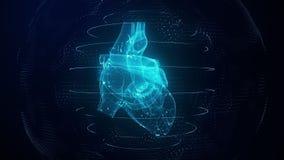 Anatomically correct blue digital human heart. Futuristic particle cardiac scan