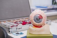 Anatomiemodell des menschlichen Auges auf dem Hintergrund des Satzes der Korrekturlinse Abstrakter Hintergrund zum Augenheilkunde Stockbild