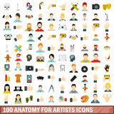 100 anatomy for artists icons set, flat style. 100 anatomy for artists icons set in flat style for any design vector illustration Royalty Free Stock Photos