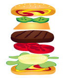 Anatomy of a Cheeseburger. Illustration of the anatomy of a cheeseburger. Including pickles, cheese, tomatoes, onion, lettuce, ketchup and mustard royalty free illustration
