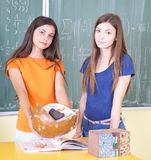 Anatomy class. Students in anatomy class with anatomical models stock photos
