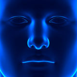 Anatomy Face - Front View - Blue concept Stock Photo