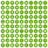 100 anatomy icons hexagon green. 100 anatomy icons set in green hexagon isolated vector illustration Royalty Free Stock Photos