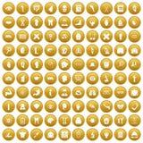 100 anatomy icons set gold. 100 anatomy icons set in gold circle isolated on white vectr illustration Stock Images