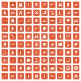 100 anatomy icons set grunge orange. 100 anatomy icons set in grunge style orange color isolated on white background vector illustration Stock Images