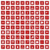 100 anatomy icons set grunge red. 100 anatomy icons set in grunge style red color isolated on white background vector illustration Royalty Free Stock Photos