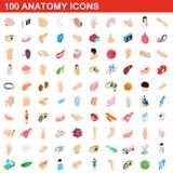 100 anatomy icons set, isometric 3d style. 100 anatomy icons set in isometric 3d style for any design illustration royalty free illustration