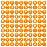 100 anatomy icons set orange. 100 anatomy icons set in orange circle isolated vector illustration Stock Photography