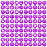 100 anatomy icons set purple. 100 anatomy icons set in purple circle isolated vector illustration Royalty Free Stock Image