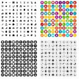 100 anatomy icons set vector variant. 100 anatomy icons set vector in 4 variant for any web design isolated on white Stock Photography