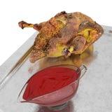 Anatra al forno su fondo bianco 3d rendere immagine stock libera da diritti