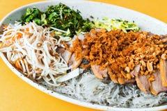 Anatra arrostita con l'insalata di vetro della verdura e della tagliatella, alimento asiatico Fotografia Stock