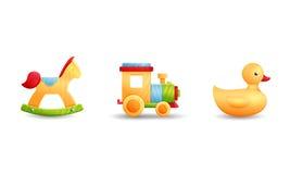 Anatra della gomma del treno del cavallo dei giocattoli Fotografia Stock Libera da Diritti