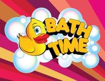 Anatra della gomma di tempo del bagno Fotografie Stock Libere da Diritti