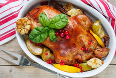 Anatra di arrosto con le mele, limone, aglio, mirtilli rossi Fotografia Stock Libera da Diritti