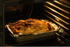 Anatra di arrosto nel forno che cucina nel forno Immagini Stock Libere da Diritti