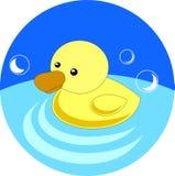 Anatra di gomma gialla nell'illustrazione del bagno nello stile piano Fotografie Stock Libere da Diritti
