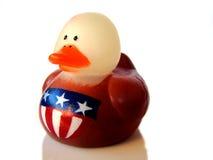 Anatra di gomma patriottica fotografia stock
