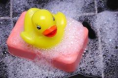 Anatra di gomma su sapone immagini stock