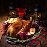 Anatra di Natale dell'arrosto con le mele Immagine Stock Libera da Diritti