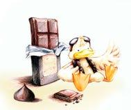 Anatra pilota gialla con il fumetto del cioccolato Fotografia Stock Libera da Diritti