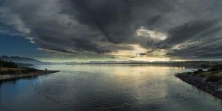 Anau van het meer te bij zonsopgang royalty-vrije stock fotografie