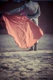 Anblick av bullfightingen, var en tjurstridighet en tjurfäktare S Arkivfoton