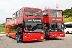 Anblick, der Bus sieht Stockfoto