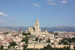 Anblick der Stadt und der Kathedrale von Segovia Lizenzfreie Stockfotografie