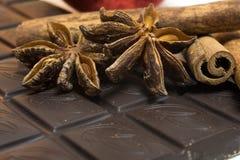 Anbud mjölkar choklad och kanel med anis på a Royaltyfri Foto