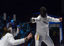 Anca Maroiu. Romanian Fencer Anca Maroiu pictured in action during the Romanian National Women Fencing Championship Final against Simona Pop Royalty Free Stock Photos