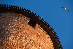 Anceint brick Kremlin tower, view from the bottom Royalty Free Stock Photos