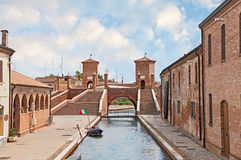 Ancent bridge in Comacchio, Italy Stock Image